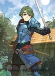 1boy alm_(fire_emblem) armor bangs cape circlet company_connection copyright_name day fire_emblem fire_emblem_cipher fire_emblem_echoes:_mou_hitori_no_eiyuuou gauntlets gloves green_eyes green_hair hidari_(left_side) holding holding_sword holding_weapon left-handed looking_at_viewer male_focus official_art outdoors sheath shoulder_armor shoulder_pads sky smile solo sword weapon