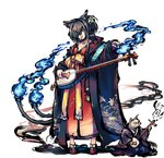 1girl :p animal_ears black_hair blue_fire cat cat_ears fire flower geta hair_flower hair_ornament hair_over_one_eye instrument japanese_clothes kimono koharu_(sennen_sensou_aigis) long_hair looking_at_viewer multiple_tails official_art sennen_sensou_aigis shamisen solo tail tail-tip_fire tongue tongue_out two_tails yellow_eyes youkai