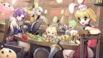 2boys 3girls :d >_< alchemist_(ragnarok_online) alcohol angeling animal animal_on_head arm_support arm_up backpack bag bangs barrel beer beer_mug black_gloves black_pants blonde_hair blurry blurry_background blush boots bow braid breastplate brown_footwear cat cat_on_head chair closed_eyes closed_fan closed_mouth commentary_request creature cross-laced_footwear cup depth_of_field drops_(ragnarok_online) dutch_angle eyebrows_visible_through_hair facial_scar facing_viewer fan fingerless_gloves fingernails folding_fan food gauntlets gloves green_hair grey_eyes grin hair_between_eyes hair_bow hand_on_another's_head high_priest holding holding_fan holding_mug knee_boots lace-up_boots long_hair looking_at_viewer looking_to_the_side mug multiple_boys multiple_girls nose_blush novice on_chair on_head oop open_mouth paladin_(ragnarok_online) pants parted_lips pink_shorts purple_hair ragnarok_online red-framed_eyewear red_bow scar shield shirt short_hair short_shorts shorts silver_hair sitting skewer sleeveless sleeveless_shirt smile sniper_(ragnarok_online) sunglasses sword table tareme tavern tsurime turkey_(food) weapon white_wings wings wooden_shield