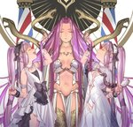 3girls arm_up armlet bonnet bracelet breasts brush capelet closed_eyes dress euryale facial_mark fate/grand_order fate/hollow_ataraxia fate/stay_night fate_(series) gorgon_(fate) hair_brush hairband holding holding_another's_hair holding_brush holding_scissors holy_pumpkin jewelry jpeg_artifacts large_breasts lolita_hairband long_hair multiple_girls navel necklace open_mouth pearl_necklace purple_hair rider scissors siblings sisters sleeveless sleeveless_dress small_breasts smile stheno strapless twins twintails very_long_hair white_background white_dress