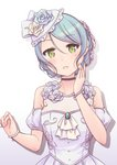 1girl aqua_hair ascot ayasaka bang_dream! black_choker blue_flower blue_rose bracelet braid choker commentary_request detached_sleeves dress flower green_eyes hair_flower hair_ornament hand_on_own_cheek hat hat_flower hat_ribbon hikawa_sayo jewelry lace-trimmed_hat looking_at_viewer necklace parted_lips pearl_bracelet pearl_necklace pink_flower pink_rose ribbon rose sidelocks solo tied_hair upper_body wedding_dress white_dress white_flower white_ribbon white_rose yellow_flower yellow_rose