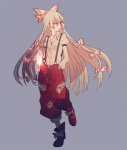 1girl bad_id bad_pixiv_id bow dress_shirt fire fujiwara_no_mokou hair_bow hands_in_pockets long_hair pants red_eyes shirt solo sumi_(pixiv619693) suspenders touhou very_long_hair white_hair