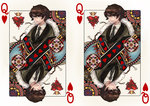 1boy brown_hair card card_(medium) crown glasses heart james_bond_(series) male_focus necktie olivia_(yh) plant playing_card q_(james_bond) skyfall solo thorns upper_body vines