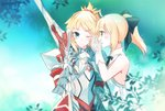 2girls armor artoria_pendragon_(all) black_bow black_ribbon blonde_hair blush bow clarent fate/apocrypha fate/grand_order fate/unlimited_codes fate_(series) gauntlets gloves green_eyes hair_bow holding holding_sword holding_weapon long_hair mordred_(fate) mordred_(fate)_(all) multiple_girls neck_ribbon open_mouth outdoors ponytail ribbon saber_lily shoulder_armor sleeveless spaulders sword touru_10ru upper_body weapon white_gloves