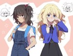 2girls =3 amazuki_jou andou_(girls_und_panzer) anger_vein angry backpack bag bangs black_dress black_hair black_neckwear blank_eyes blonde_hair blue_eyes blue_jacket blush brown_eyes chibi chibi_inset child commentary dark_skin dress dress_shirt eyebrows_visible_through_hair frown fume girls_und_panzer hair_bobbles hair_ornament hand_in_pocket head_tilt jacket long_hair medium_hair messy_hair multiple_girls neck_ribbon one_side_up open_mouth oshida_(girls_und_panzer) overalls pleated_dress randoseru ribbon shirt side_ponytail t-shirt tearing_up tears twintails two_side_up white_shirt wing_collar wiping_tears younger