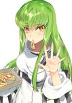 1girl bangs blush breasts c.c. code_geass covered_navel creayus eyebrows_visible_through_hair fingernails green_hair long_fingernails long_hair long_sleeves looking_at_viewer medium_breasts motion_lines mouth_hold palms pizza_box robe shiny shiny_hair sidelocks simple_background solo spread_fingers tsurime underbust upper_body very_long_hair waving white_background yellow_eyes