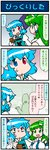 2girls 4koma :< artist_self-insert blank_eyes blue_eyes blue_hair closed_eyes comic commentary detached_sleeves frog_hair_ornament gradient gradient_background green_eyes green_hair hair_ornament hair_tubes heterochromia highres holding holding_umbrella juliet_sleeves kochiya_sanae long_hair long_sleeves mizuki_hitoshi multiple_girls nontraditional_miko open_mouth puffy_sleeves red_eyes short_hair smile snake_hair_ornament sweatdrop tatara_kogasa touhou translated umbrella vest wide_sleeves