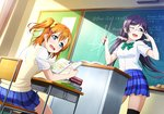 2girls artist_request bangs black_legwear blush book bow breasts chalkboard checkered classroom desk glasses kousaka_honoka long_hair looking_at_viewer love_live! love_live!_school_idol_festival love_live!_school_idol_project low_twintails math medium_breasts multiple_girls official_art one_eye_closed one_side_up open_mouth orange_hair otonokizaka_school_uniform pleated_skirt purple_hair school_desk school_uniform scrunchie short_hair short_sleeves skirt smile studying tears thighhighs toujou_nozomi twintails zettai_ryouiki