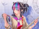 1girl artist_name black_hair black_nails blue_hair blush commentary_request danganronpa dated ear_piercing eyebrows_visible_through_hair guitar hair_ornament hairclip highres holding in_mouth instrument jewelry long_hair mioda_69ch mioda_ibuki multicolored_hair musical_note nail_polish necklace piercing pink_eyes pink_hair ponytail ring school_uniform serafuku sleeves_rolled_up solo super_danganronpa_2 white_hair