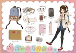 1girl arinko_(ta.n.ra.ra) backpack bad_id bad_pixiv_id bag black_legwear brown_eyes brown_hair cellphone closed_umbrella coin_purse headphones jacket key keychain leggings no_socks notebook o3o original pencil_case phone sewing_kit short_hair sketchbook standing standing_on_one_leg themed_object translated trencker umbrella