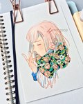 1girl artist_name bangs floral_print flower hair_ornament hairclip hand_up highres leaf meyoco original paper photo pink_flower pink_hair portrait print_scarf profile scarf short_hair solo traditional_media