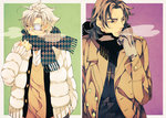2boys breath brown_eyes brown_hair coat cross cross_necklace double-breasted eyepatch fate/stay_night fate/zero fate_(series) jewelry kotomine_kirei male_focus matou_kariya multiple_boys necklace nishi_juuji scar scarf unmoving_pattern white_hair winter_clothes
