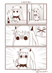 (o)_(o) artist_name bottle chopsticks comic commentary cosplay cup_ramen drinking_straw emphasis_lines fork highres kantai_collection long_hair looking_at_viewer monochrome moomin muppo no_humans northern_ocean_hime northern_ocean_hime_(cosplay) sazanami_konami silent_comic soda_bottle solo translated twitter_username wallet