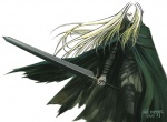 1girl artist_request blonde_hair claymore claymore_(sword) cloak holding holding_sword holding_weapon irene_(claymore) long_hair one_eye_covered pointy_ears silver_eyes solo strap sword weapon white_background