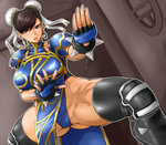 1girl alternate_costume ass_visible_through_thighs black_legwear brown_eyes brown_hair bun_cover chinese_clothes chun-li collar double_bun earrings fighting_stance fingerless_gloves gloves hair_bun highleg jewelry oreteki18kin parted_lips pelvic_curtain shoulder_pads solo spiked_collar spikes street_fighter street_fighter_v thighhighs toned