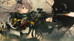 1girl absurdres bangs black_gloves black_jacket black_skirt brown_eyes brown_hair brown_legwear collared_shirt commentary dress_shirt eyebrows_behind_hair firing girls_frontline gloves gun h&k_ump45 hair_ornament hair_over_one_eye highres holding holding_gun holding_weapon jacket jun_project long_hair long_sleeves looking_away mod3_(girls_frontline) motion_blur muzzle_flash one_eye_closed one_knee pantyhose parted_lips pleated_skirt scar scar_across_eye scope shell_casing shirt single_glove single_leg_pantyhose skirt solo submachine_gun ump45_(girls_frontline) very_long_hair weapon white_shirt