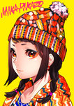 1girl artist_name bangs beanie braid brown_eyes brown_hair closed_mouth commentary_request earrings eyeshadow hat hood hood_down hoodie jewelry looking_at_viewer makeup mika_pikazo original portrait simple_background smile solo twin_braids upper_body yellow_background
