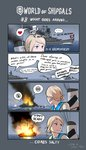 ... 2girls 4koma aurora_(azur_lane) azur_lane battleship blonde_hair blue_eyes braid cannon character_name comic commentary dated english english_commentary explosion fire from_behind fur_hat gameplay_mechanics gneisenau gremyashchy_(greythorn032) greythorn032 hat heart highres looking_back military military_vehicle minigirl multiple_girls nazi_flag original personification sailor_collar ship smirk speech_bubble spoken_ellipsis spoken_heart turret twin_braids ushanka warship watercraft white_hair world_of_warships