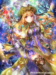 1girl black_legwear blonde_hair blue_bow bow breasts copyright_name dragon_tactics eyebrows_visible_through_hair floating_hair gem gloves green_capelet green_hat grey_gloves hat highres holding holding_staff long_hair medium_breasts official_art red_eyes rioka_(southern_blue_sky) shiny shiny_hair skirt solo sparkle staff standing thighhighs thighlet very_long_hair