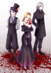 1girl 2boys achikoako black_hair black_sclera blood boots breasts coat double-breasted dress elbow_gloves flower formal gloves hands_in_pockets hat itori_(tokyo_ghoul) jewelry large_breasts looking_at_viewer multiple_boys necklace orange_hair red_eyes rose silver_hair standing tokyo_ghoul top_hat uta_(tokyo_ghoul) waistcoat yomo_renji