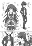 1boy 1girl bare_shoulders comic crossover cuts hair_down hand_in_pocket hands_clasped highres injury kamijou_touma kneeling kosshii_(masa2243) mahou_shoujo_madoka_magica monochrome sakura_kyouko short_hair to_aru_majutsu_no_index translated