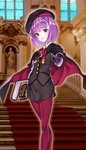 1girl belt beret black_gloves book breasts commentary_request fate/grand_order fate_(series) flat_chest gloves hat helena_blavatsky_(fate/grand_order) highres looking_at_viewer maroon_legwear matsuryuu pantyhose purple_eyes purple_hair short_hair small_breasts smile solo