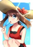 1girl absurdres black_shirt black_shorts blue_eyes breasts brown_hair cleavage collar eyebrows_visible_through_hair food hair_between_eyes haruka_(pokemon) hat hat_ribbon highres holding holding_food ice_cream long_hair medium_breasts open_mouth pokemon pokemon_(game) pokemon_oras ponytail red_ribbon red_shirt ribbon shiny shiny_skin shirt short_shorts shorts shorts_under_shorts sideboob sleeveless sleeveless_shirt solo squatting straw_hat sun_hat twintails white_shorts yellow_hat yuihiko