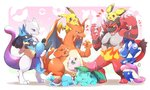 azuma_minatsu black_hair blue_eyes brown_hair carrying charizard claws closed_eyes fire full_body furry gen_1_pokemon gen_2_pokemon gen_4_pokemon gen_6_pokemon gen_7_pokemon greninja heart incineroar ivysaur jigglypuff legendary_pokemon lucario mewtwo multiple_boys ninja no_humans open_mouth pichu pikachu poke_ball pokemon pokemon_(creature) red_eyes scarf shell smile squirtle super_smash_bros. tail teeth tongue tongue_out wings yellow_sclera