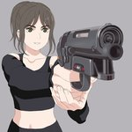 1girl aiming blade_runner blade_runner_2049 brown_eyes brown_hair commentary_request cyberpunk graphite_(medium) grin gun handgun highres joi perspective pkd_blaster science_fiction smile solo traditional_media weapon
