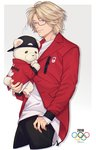1boy 2016_summer_olympics animal artist_name axis_powers_hetalia baseball_cap bear blonde_hair canada_(hetalia) carrying glasses hand_on_hip hat hr_jam kumajirou_(hetalia) looking_at_viewer male_focus olympic_rings polar_bear purple_eyes smile