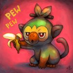 absurdres banana commentary creature english_commentary food fruit full_body gen_8_pokemon grookey highres holding holding_food holding_fruit monkey no_humans onomatopoeia pokemon pokemon_(creature) ry-spirit signature solo