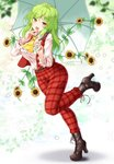 1girl :d aka_tawashi ascot bangs belt blush boots breasts brown_footwear commentary_request eyebrows_visible_through_hair flower full_body green_hair green_umbrella hands_up head_tilt high_heel_boots high_heels highres holding holding_umbrella kazami_yuuka kazami_yuuka_(pc-98) large_breasts leaf leg_up long_hair long_sleeves looking_at_viewer open_mouth pants plaid plaid_pants plaid_vest red_eyes red_pants red_vest shadow shirt smile solo standing standing_on_one_leg star sunflower thighs touhou touhou_(pc-98) umbrella vest white_shirt wing_collar yellow_neckwear