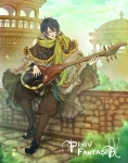 1boy arch bad_id bad_pixiv_id black_hair boots brown_pants building cobblestone coin day demich dome fantasy fringe_trim full_body fur green_scarf highres instrument long_sleeves looking_away looking_to_the_side lute_(instrument) male_focus music on_wall outdoors pants parted_lips pixiv_fantasia pixiv_fantasia_4 playing_instrument poncho scarf sitting smile solo stone_wall wall