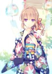 1boy bangs blurry bow brown_hair closed_mouth commentary_request cowboy_shot depth_of_field goma_(11zihisin) hair_bow highres japanese_clothes kimono long_hair looking_at_viewer male_focus obi original otoko_no_ko pink_eyes sash smile solo wide_sleeves wind_chime yukata