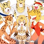 3boys 3girls absurdres apollo_(cheetahmen) aries_(cheetahmen) bangs bare_arms bare_shoulders black_eyes breasts brown_hair cheetah_(dc) cheetah_(kemono_friends) cheetah_boy cheetah_ears cheetah_girl cheetah_print cheetah_tail cheetahmen cheetara claw_pose claws cleavage closed_mouth collarbone collared_shirt commentary covered_nipples crossover dc_comics dress_shirt elbow_gloves english_commentary fangs flying_sweatdrops frown furrowed_eyebrows furry gloves gradient_hair hand_on_hip headband hercules_(cheetahmen) highres kemono_friends large_breasts leotard long_hair looking_at_viewer miniskirt multicolored_hair multiple_boys multiple_crossover multiple_girls muscle necktie open_mouth orange_hair orange_leotard own_hands_together pleated_skirt polearm print_gloves print_legwear print_neckwear print_skirt red_eyes roger_i.s. scared shirt short_hair short_sleeves skirt spotted_hair streaked_hair surrounded sweat thighhighs thundercats trait_connection two-tone_hair very_long_hair wavy_mouth weapon whiskers white_shirt wing_collar zettai_ryouiki