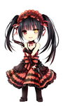 1girl :d black_hair chibi date_a_live dual_wielding full_body gothic_lolita gun gyaza hairband handgun heterochromia lolita_fashion lolita_hairband long_hair open_mouth simple_background smile solo standing tokisaki_kurumi twintails weapon white_background