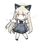 1girl animal_ears bangs black_footwear blonde_hair blush_stickers cat_ears chibi closed_mouth dress eyebrows_behind_hair full_body grey_dress grey_eyes hair_ornament halo long_hair long_sleeves looking_away looking_to_the_side lowres moffle_(ayabi) original shoes simple_background sleeves_past_wrists socks solo standing very_long_hair white_background white_legwear white_wings wings
