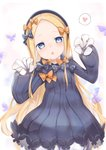 1girl abigail_williams_(fate/grand_order) absurdres bangs black_bow black_dress black_headwear blonde_hair bloomers blue_eyes blush bow bug butterfly chestnut_mouth commentary_request dress fate/grand_order fate_(series) forehead hair_bow hands_up hat heart highres huge_filesize insect kiri_sakura leaning_to_the_side long_hair long_sleeves looking_at_viewer multiple_bows multiple_hair_bows object_hug orange_bow parted_bangs parted_lips polka_dot polka_dot_bow sleeves_past_fingers sleeves_past_wrists solo spoken_heart underwear very_long_hair white_bloomers