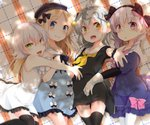 4girls abigail_williams_(fate/grand_order) ahoge bangs black_bow black_dress black_hat black_legwear black_neckwear black_ribbon blonde_hair blue_dress blush bow braid commentary_request dress eyebrows_visible_through_hair facial_scar fate/grand_order fate_(series) gloves green_eyes hair_between_eyes hair_bow hair_ornament hat headpiece highres jack_the_ripper_(fate/apocrypha) jeanne_d'arc_(fate)_(all) jeanne_d'arc_alter_santa_lily long_hair looking_at_viewer lying multiple_girls neck_ribbon neckerchief nursery_rhyme_(fate/extra) on_back on_side open_mouth pantyhose pink_bow purple_eyes ribbon sailor_collar scar scar_across_eye scar_on_cheek shimotsuki_kagari shiny shiny_skin short_dress short_hair sleeveless sleeveless_dress smile thighhighs tied_hair twin_braids white_dress white_gloves white_legwear yellow_eyes yellow_neckwear zettai_ryouiki