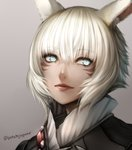 1girl animal_ear_fluff animal_ears bangs blind cat_ears close-up closed_mouth eyebrows_visible_through_hair face facial_mark final_fantasy final_fantasy_xiv grey_background hair_between_eyes high_collar highres jaguar_(potatojaguar) lips looking_at_viewer miqo'te short_hair silver_eyes solo twitter_username white_hair y'shtola_rhul