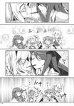 6+girls absurdres alice_margatroid blush book breasts comic demon_wings doujinshi embarrassed eyebrows_visible_through_hair fangs flandre_scarlet food frilled_sleeves frills fumitsuki_(minaduki_6) greyscale hair_ornament hair_ribbon hairband highres izayoi_sakuya koakuma long_hair long_sleeves monochrome multiple_girls necktie open_mouth page_number patchouli_knowledge pocky pocky_kiss remilia_scarlet ribbon scan shared_food short_hair sweatdrop touhou translated wide-eyed wings yuri