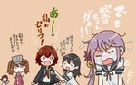 5girls :> ahoge akebono_(kantai_collection) bell black_hair brown_hair closed_eyes comic crescent crescent_moon_pin crying flower fubuki_(kantai_collection) hair_bell hair_flower hair_ornament jacket japanese_clothes jingle_bell kantai_collection kariginu long_hair long_sleeves low_ponytail multiple_girls mutsuki_(kantai_collection) neckerchief open_mouth orange_background otoufu purple_hair remodel_(kantai_collection) ryuujou_(kantai_collection) school_uniform serafuku short_hair short_sleeves side_ponytail sleeve_tug smile streaming_tears tears translated triangle_mouth twintails ushio_(kantai_collection) v vest visor_cap