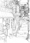 air_conditioner bad_id bad_pixiv_id bouno_satoshi greyscale highres japanese_cylindrical_postbox japanese_postal_mark monochrome no_humans old_kana_usage original postbox_(outgoing_mail) railing sign sketch stairs town work_in_progress