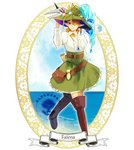 1girl arm_at_side belt blue_sky boots bow brown_footwear brown_hair character_name cloud copyright_name falena_(pixiv_fantasia_last_saga) fish goggles goggles_on_headwear green_eyes green_headwear green_skirt hair_over_one_eye hand_on_headwear jewelry long_sleeves necklace outdoors pixiv_fantasia pixiv_fantasia_last_saga pouch scroll skirt skull sky smile solo standing water yellow_bow