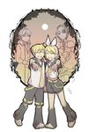 2boys 2girls :d allen_avadonia anniversary blonde_hair brother_and_sister closed_eyes detached_sleeves dress evillious_nendaiki full_moon hair_ornament hair_ribbon hairclip headset holding_hands ichi_ka kagamine_len kagamine_rin looking_at_viewer master_of_the_heavenly_yard_(vocaloid) midriff_peek moon multiple_boys multiple_girls necktie open_mouth outstretched_hand ponytail ribbon riliane_lucifen_d'autriche shorts siblings smile spoilers vocaloid yellow_neckwear