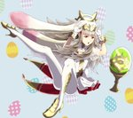 1girl animal_ears bunny_ears bunny_tail cleavage_cutout dress easter_egg egg fake_animal_ears fake_tail fire_emblem fire_emblem_heroes flower full_body gloves grail grey_hair gzo1206 hair_flower hair_ornament high_heels long_hair open_mouth red_eyes see-through see-through_sleeves short_dress solo tail veronica_(fire_emblem) white_gloves white_legwear