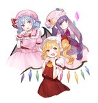 3girls :d bat_wings blue_eyes blush breasts fang fingers_together flandre_scarlet gwayo hat highres long_hair looking_at_viewer multiple_girls open_mouth patchouli_knowledge pointy_ears purple_eyes purple_hair red_eyes remilia_scarlet short_hair side_ponytail simple_background smile touhou very_long_hair white_background whtie_background wings wrist_cuffs