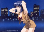 1990s_(style) 1girl armpits arms_behind_head arms_up bandeau black_eyes black_hair bob_cut city copyright copyright_name cowboy_shot cropped_jacket dated fringe_trim leaning_forward megami_paradise night official_art open_mouth outdoors rouge_(megami_paradise) short_hair shorts sleeveless sleeveless_jacket solo