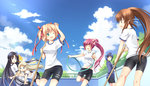 6+girls :d :o ;d ^_^ bike_shorts black_hair blonde_hair blue_eyes blue_hair broom brown_eyes brown_hair closed_eyes empty_pool green_eyes gym_uniform hairband hose jacket kamikita_komari kurugaya_yuiko little_busters! long_hair multiple_girls natsume_rin nishizono_mio noumi_kudryavka one_eye_closed open_mouth ponytail purple_eyes purple_hair red_eyes ribbon saigusa_haruka satou_aoi short_hair side_ponytail smile track_jacket twintails