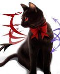 absurdres animalization artist_name asymmetrical_wings black_cat bow cat cat_focus demon_tail highres houjuu_nue neck_bow no_humans red_bow red_eyes red_neckwear shadow sheya signature simple_background solo tail touhou white_background wings